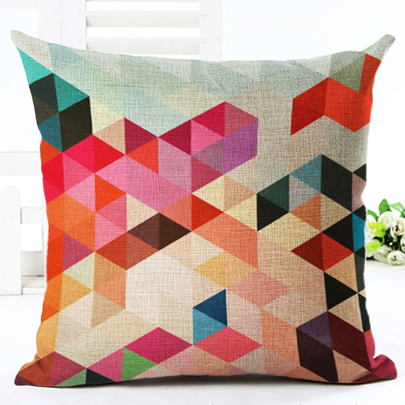 European Cushion Home Sofa Car Throw Pillows Geometric Style Plaid Printed Signature Cotton Funda Cojin Cushion