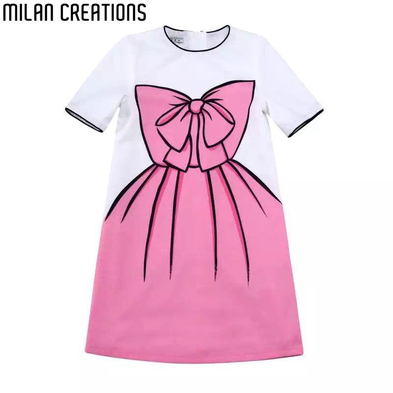 Girl Dress Children 2016 Brand Summer Princess Dress Girls Clothes Bow Print Pattern Toddler Girls Dresses Kids Clothes 2Colors(China (Mainland))