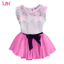 Buy LZH Baby Girls Clothes 2017 Summer Girls Skirt Suit Lace T-shirt + Skirt 2pcs Kids Clothes Girl Set Children Girls Clothing Sets for $6.61 in AliExpress store