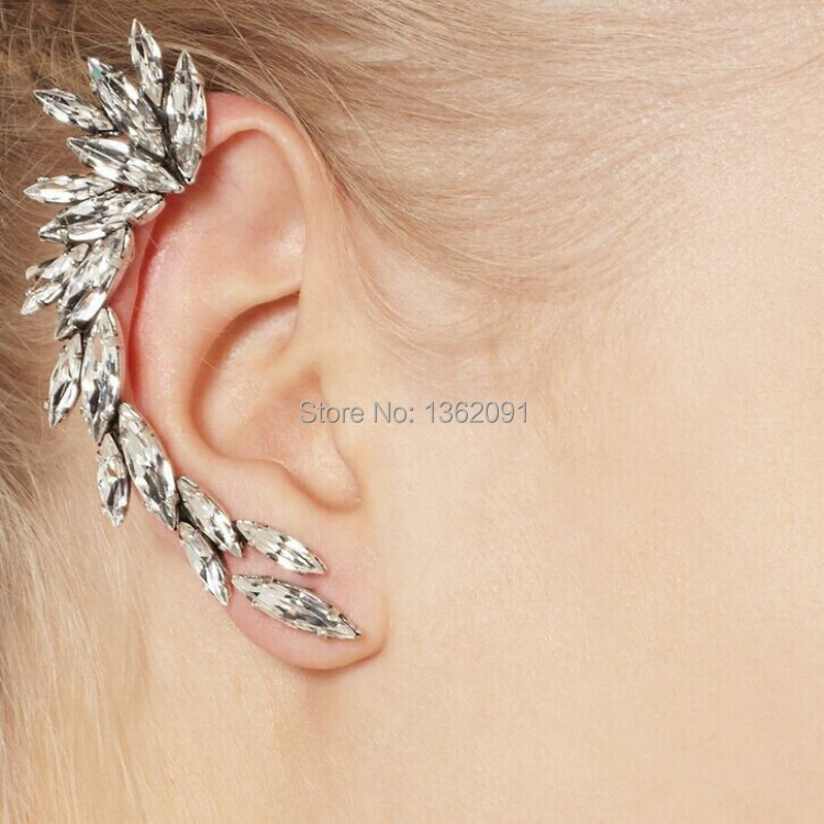 1pc Women's Charming Silver Crescent Crystal Rhinestone Ear Cuff Clip Earring For Right(China (Mainland))