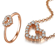 ZOCAI brand 18K rose gold natural real diamond heart nacklace  and ring sets 925 silver chain for gift fine jewelry sets(China (Mainland))