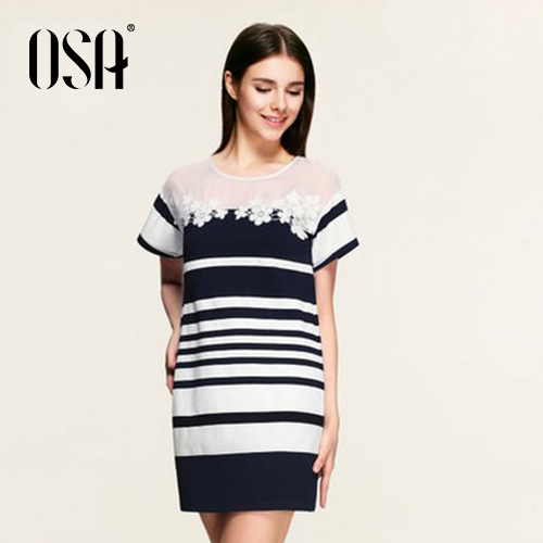 OSA 2015 New Arrivals Women Lace Dress Short Sleeve Patchwork Flowers Black And White Stripe Vestidos Casual Dress SL537003(China (Mainland))