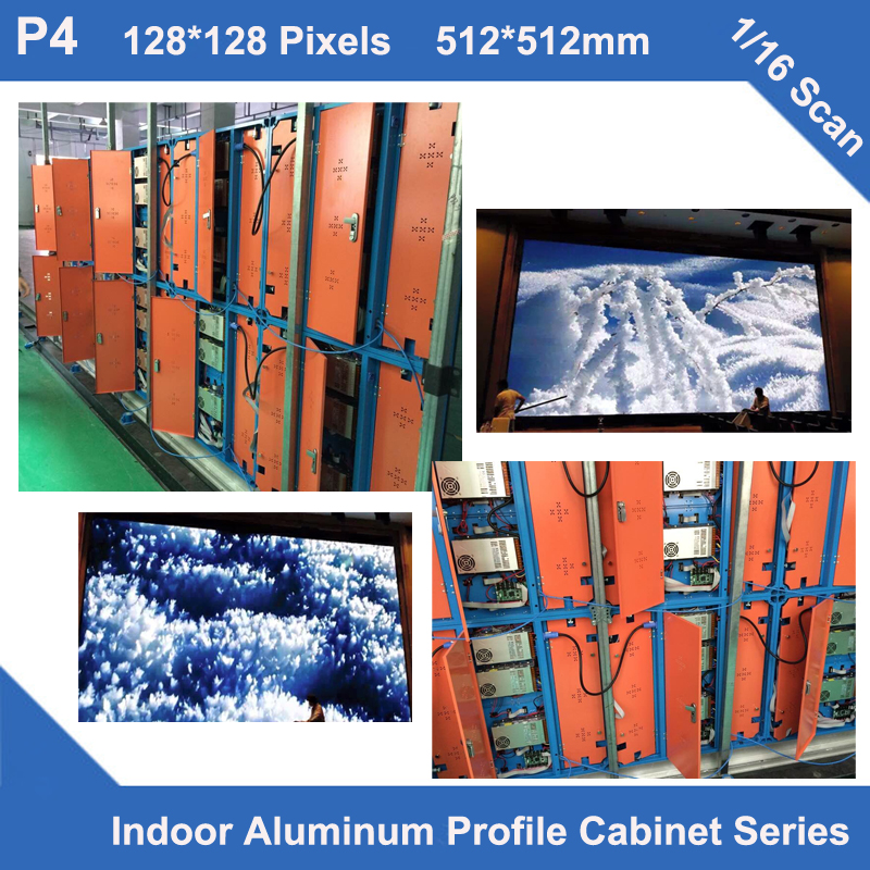 P4 indoor aluminum profile Cabinet led display 512mm*512mm 1/16 scan module rental or fixed installation advertising led sign(China (Mainland))