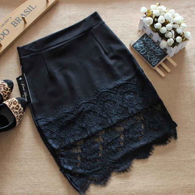 Новая коллекция весна и лето кружева шить шаг юбка сексуальный тонкий пакет хип юбка твердое тело юбка оккупации