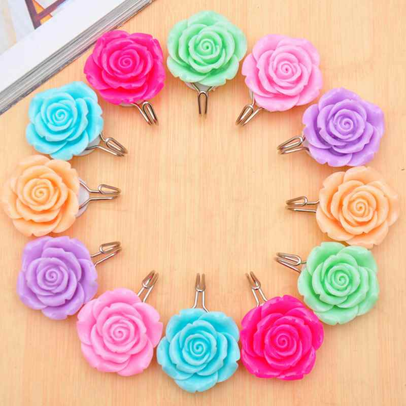 Free Shipping Creative Towel Hanger Wall Hook Resin Rose Flower Bathroom Door Rack Home Decorations Kitchen Accessories(China (Mainland))