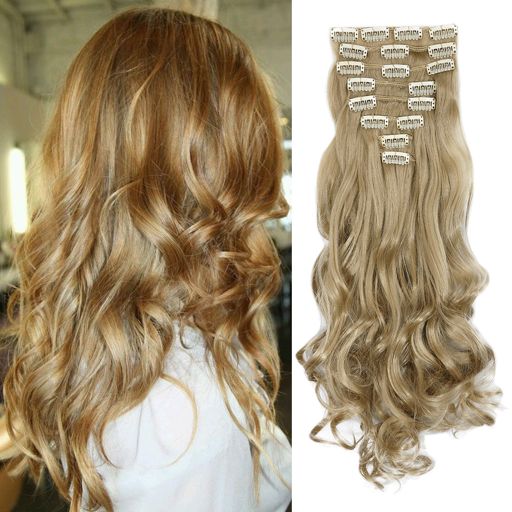 "24"" Long Curly Wave 8pcs Full Head Hairpiece Clip in Hair Extensions Fake Synthetic Hairpieces Ash Brown Thick Hair Piece(China (Mainland))"