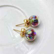 newest spring design fashion brand jewelry double sides stud earrings for women star handmade Glass beads statement earrings(China (Mainland))