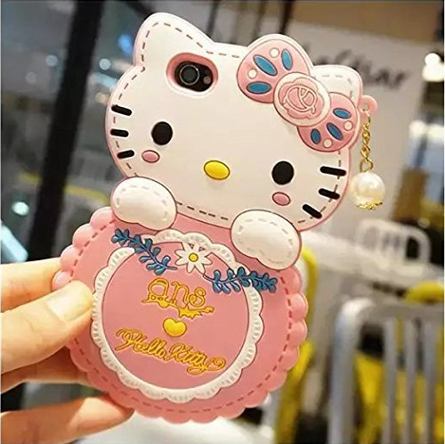 Fashion cute Hello Kitty Silicone Shell Anti - scratch the Back Case with Pendant for Iphone 6 Pink Free shopping(China (Mainland))