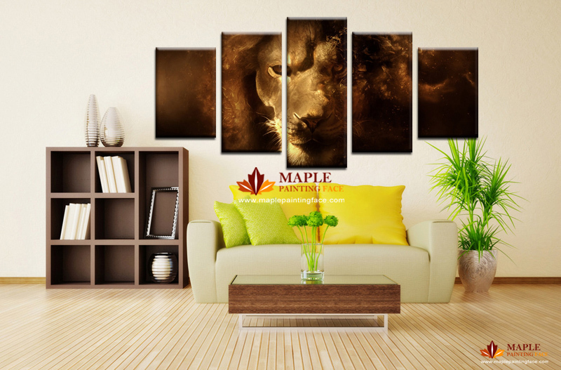 Free shipping 5 panel cheap modern canvas art lion oil painting on canvas for decorative picture living room -- wall painting(China (Mainland))
