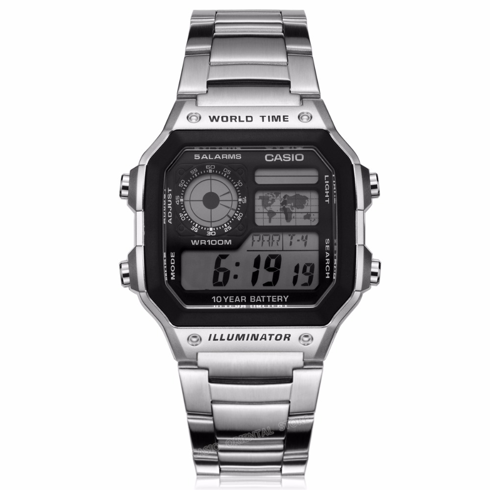Casio Watches top brand luxury Men Sports AE-1200WHD-1A digital Waterproof Complete Calendar Alarm stainless steel band Relogio(China (Mainland))