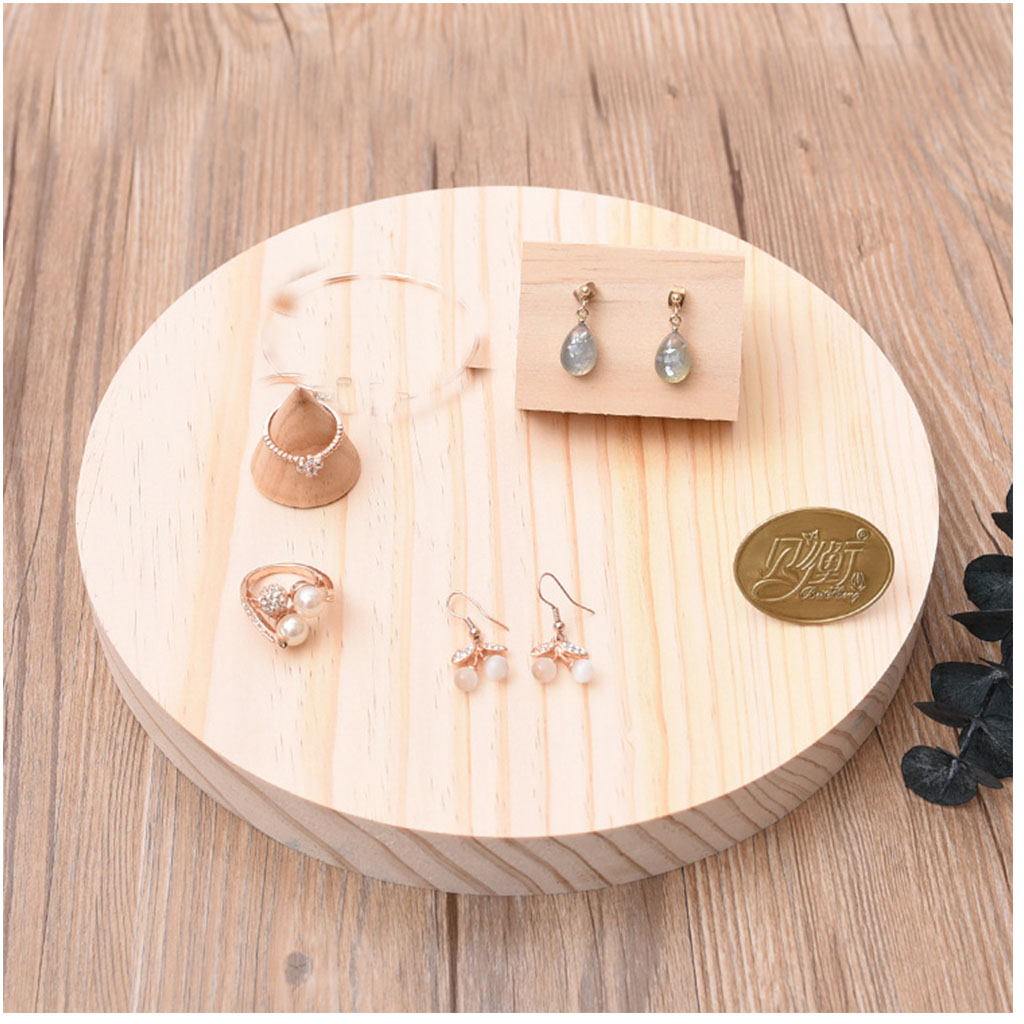 3 Pieces Plain Unpainted Wooden Necklace Earrings Ring Holder Jewelry Display Organizer