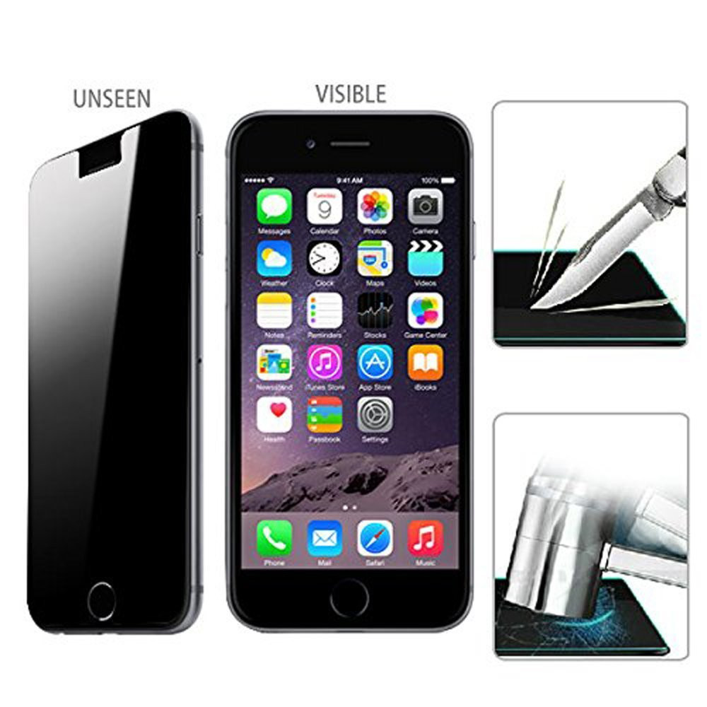 0.33mm 9H Privacy Film+Tempered Glass for iphone 4/4s/5/5S/5c/6/6 Plus Anti Spy Screen Protector Anti-shatter Shockproof UGI5DF(China (Mainland))