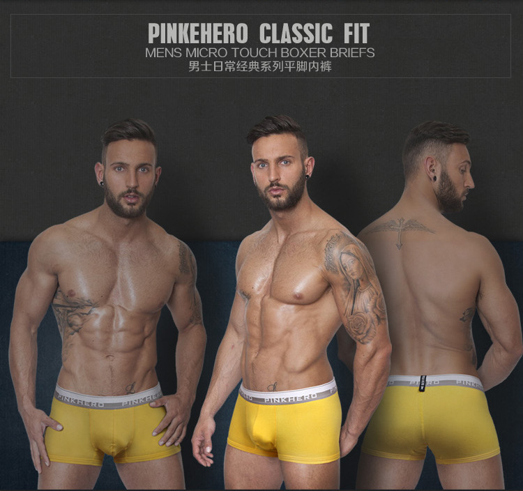Free shipping!3pcs/lot brand Pink hero solid boxers men gay underwear sexy solid underwear men sexy boxers for men(China (Mainland))