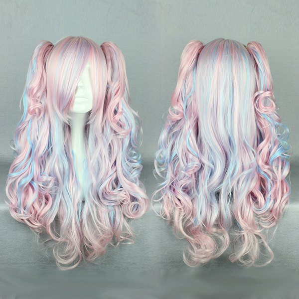 MCOSER Sexy Women Sweet Long Curly Wavy Blue Pink Minxed Ponytails Wig Cosplay Gothic Lolita Wig(China (Mainland))