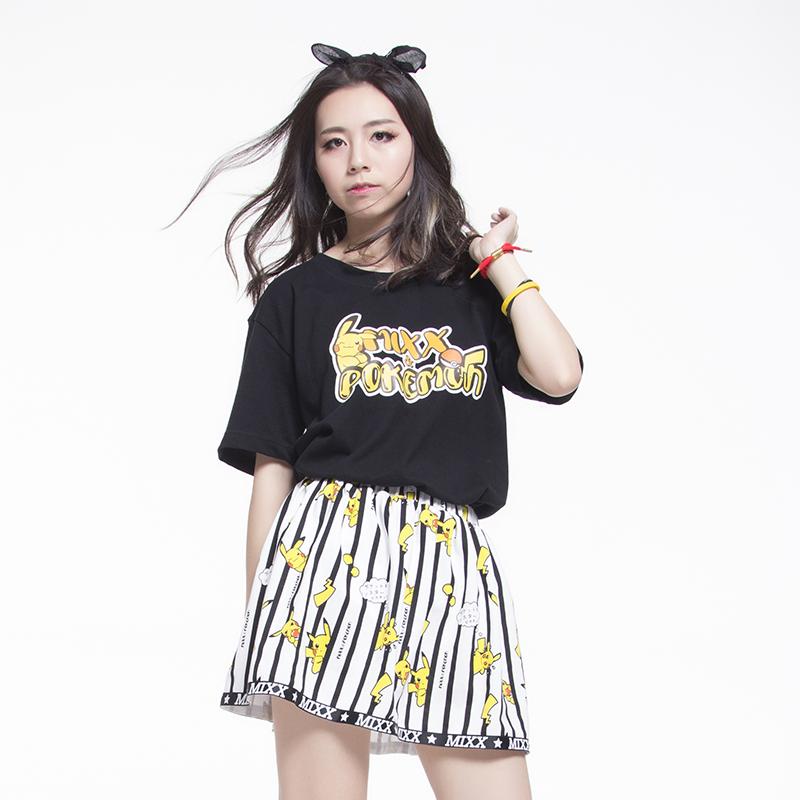 Summer Pokemon Short Dress Anime Pockect Monster Pikachu MIXX Fashion White Skirt(China (Mainland))