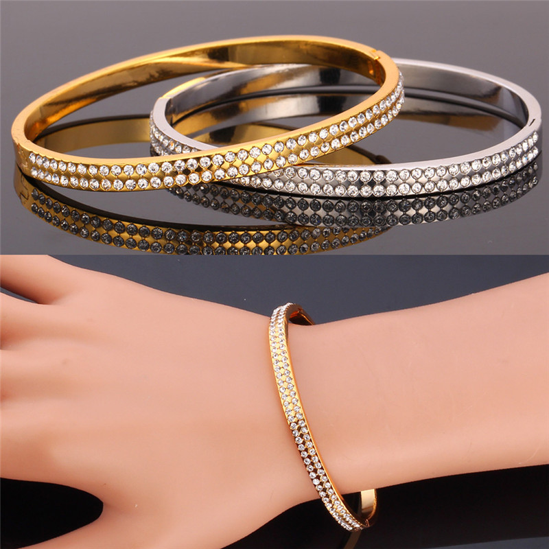 Austrian Crystal Bracelets For Women / Men Jewelry Platinum / 18K Real Gold Plated 2015 Fashion Jewelry Bracelets & Bangles H477(China (Mainland))