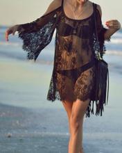 Lace Bikini Beach Cover Up Dress Black and White Beach Wear Cangas De Praia Crochet Dress