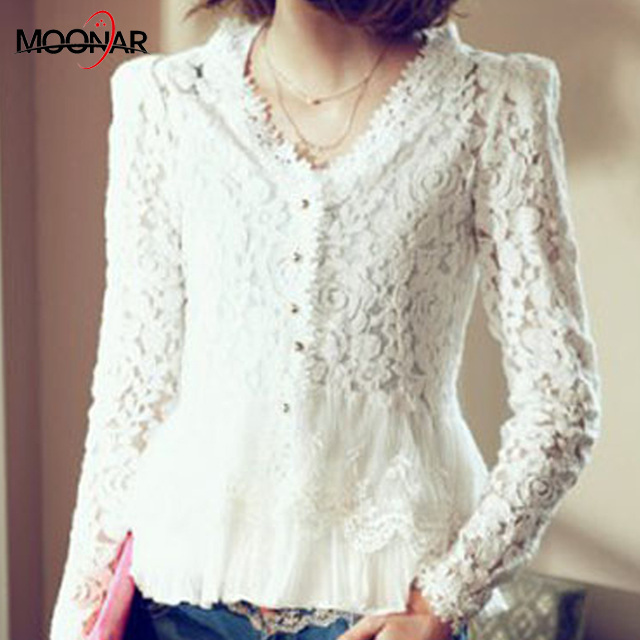 Slim lace Blouse long sleeve tops Fashion Hollow Out Crochet blusas
