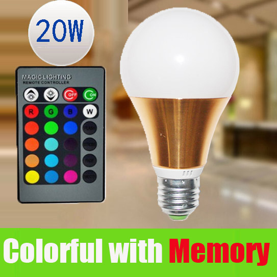E27 RGB LED Light Bulb Lamp 20W 16 color changing+Remote Control with Memory Lampada led Luz 110v 220v For Party Christmas Home<br><br>Aliexpress