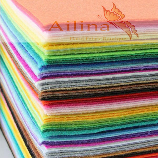 Factory lowest price 40colors/lot 15CMX15CM Felt Fabric,Polyester,Non-woven Felt,1 MM Thick,Handmade fabric DIY Not woven Cloth(China (Mainland))