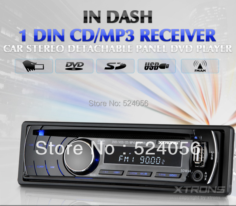 Universal One Din In Dash Car DVD Player In car Single din car DVD audio DVD/ MP3/ Divx/ MP4/ USB/ RDS/ AM/ FM player/Face off(China (Mainland))