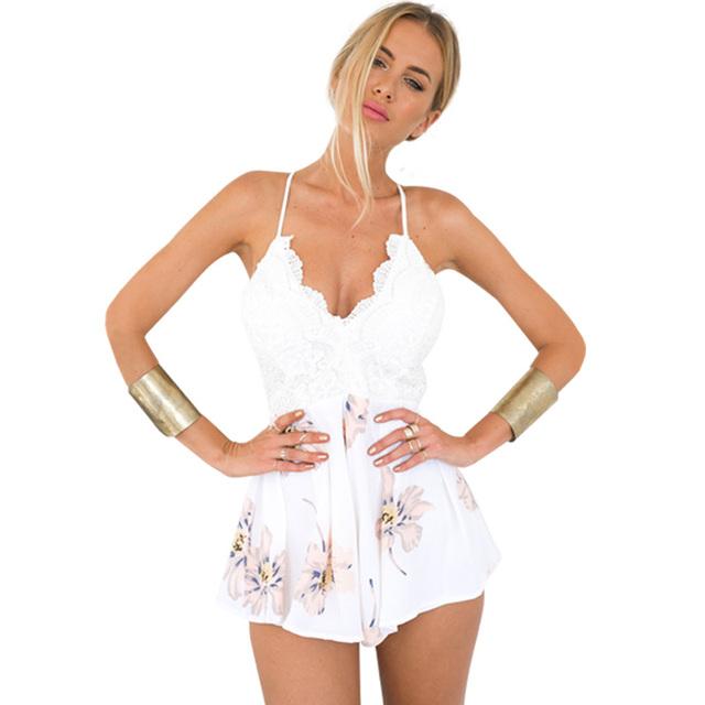 Boho цветочным принтом белый кружева элегантный комбинезон комбинезон Сексуальный ...