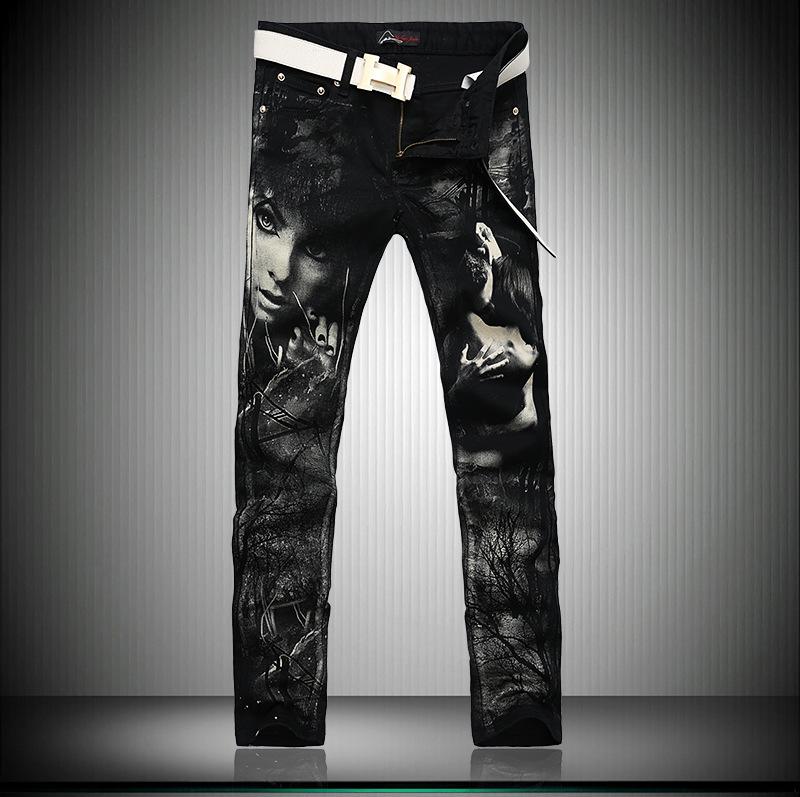 Скидки на Мужчины Прямой Тонкий мужская одежда мужские джинсы мужской pantalones вакеро hombre черный печати Длинные брюки поддельные дизайнер одежды G219