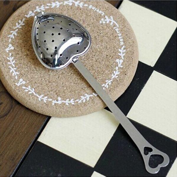 1PCS Hot Tea Strainer Stainless Steel Heart Shape Teaspoon Infuser Filter Colander(China (Mainland))