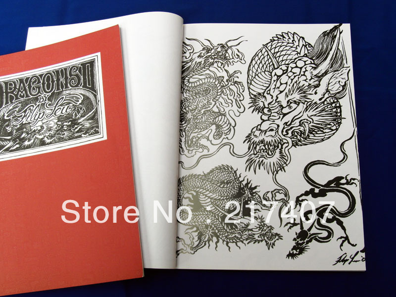 Filip leu dragons tattoo flash sketch tattoo reference for Tattoo reference books