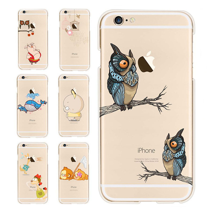 Baymax Cat Owl Giraffe Phone Cases Cover For iPhone 6 Case Covers For 6s plus Case Transparent Soft Plastic Fonda Case Cover(China (Mainland))