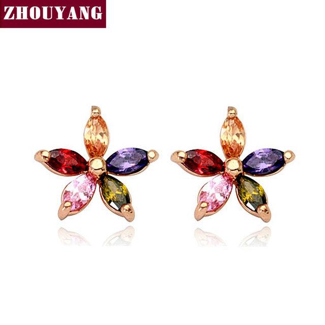 ZHOUYANG ZYE007 Multicolour Wintersweet  Rose Gold Plated Stud Earrings Genuine  Austrian Crystal Wholesale