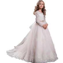 2017 white flower girl dresses lace with long sleeves for weddings plus size long pageant dresses for kids communion dresses(China (Mainland))