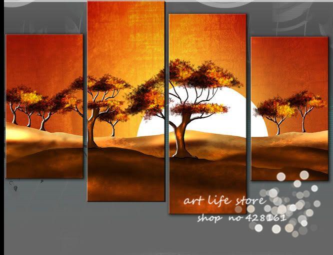 Free shipping Factory sell sunrise tree Wall art Home Decor 100% handmade yellow oil painting wedding /birthday /christams gift(China (Mainland))