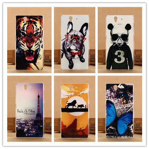 Top Quality 3D Painting Case Hard Plastic Cover For Sony Xperia Z L36H C6603 C6602 Mobile Bag Animal Design PY(China (Mainland))