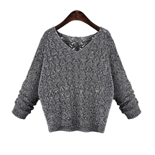 New 2015 autumn winter fashion cashmere batwing sleeve V-Neck knit pullover women sweater free Shipping(China (Mainland))