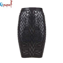 2016 women stretchy black foil bandage skirt women sexy elegant geometric pencil embossed mini short skirt drop shipping HL379(China (Mainland))