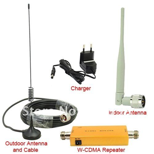 Up to 500 Square Meter WCDMA 2100MHz 3G RF Repater Mobile Phone Signal Booster Amplifer Repeater Set(China (Mainland))