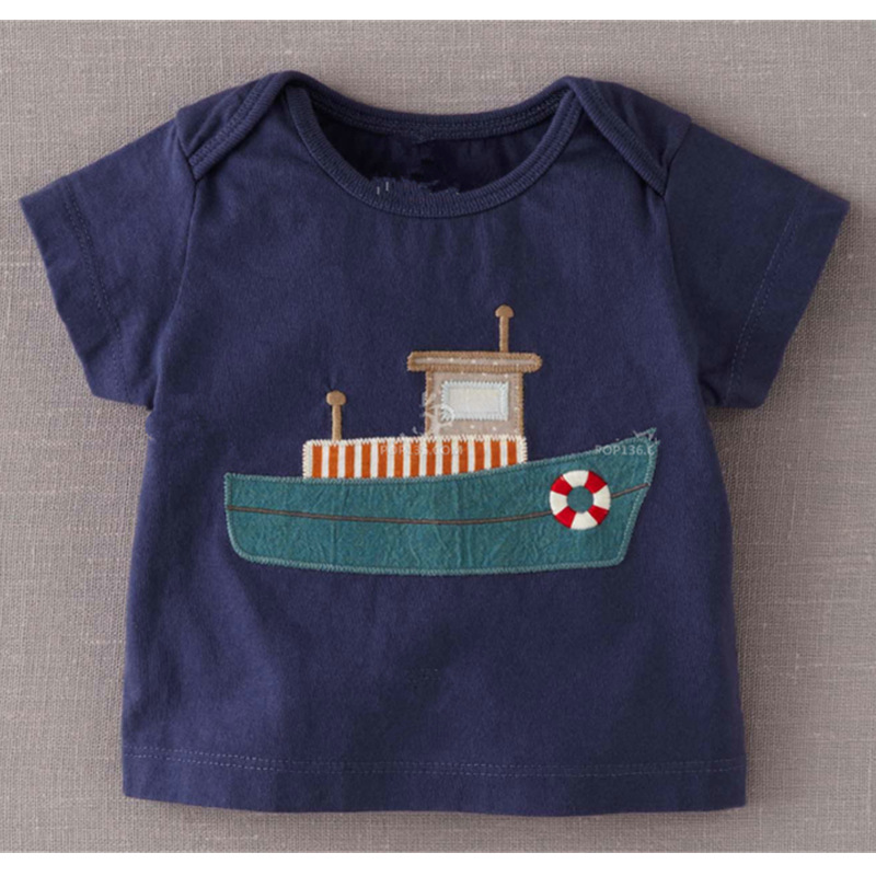 The new spring childrens clothing embroidery cloth boy children cotton short sleeved T scout boat<br><br>Aliexpress
