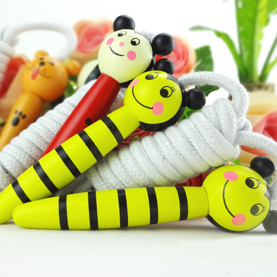 2016 NEW Cartoon Animals Design Wooden Handle Jump Rope Skipping Rope for Kids Boys Girls Fitness Exercise Speed-Random Delivery(China (Mainland))