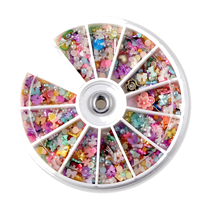 1200PCS rhinestones decorations IY Colorful Pearl 8mm Nail Art Tips Studs Glitter Wheel 3D Floral Bow Butterfly Nails Art Tools(China (Mainland))