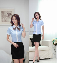 Plus Size Fashion Novelty Women Business Suits Blouses And Skirt Formal Office Ladies Work Uniforms Clothing Set Free Shipping