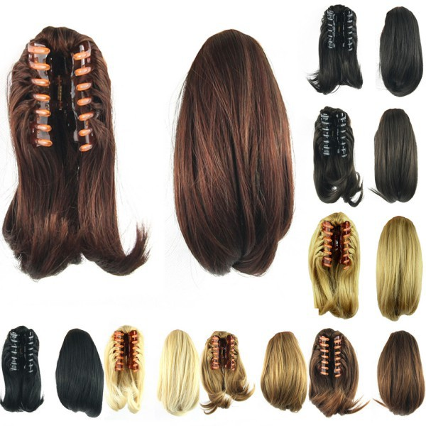 Clip In Ponytail Pony Tail Hair Extension Claw On Hair Piece Short Straight(China (Mainland))