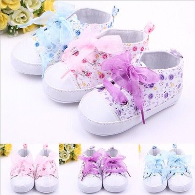 Infant Toddler Kids Shoes Girl Floral Sneakers Soft Soled Crib Lace Up Shoes Walking Sneaker<br><br>Aliexpress