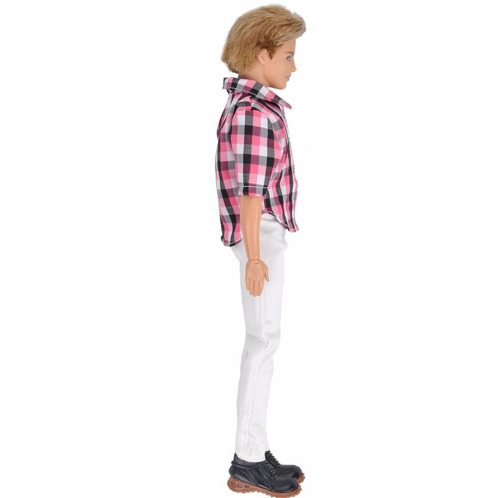 E-TING Vogue Informal Pink Plaid Shirt White Trousers Pants Garments For Barbie Ken Doll