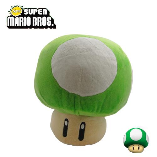 "FREE SHIPPING Japanese Animation Cute! Anime Super Mario Bros Mushroom 22cm/8.8"" Soft Plush Doll Toy Green(China (Mainland))"