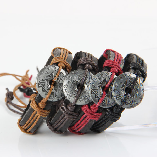 Free shipping!!!Cowhide Bracelet,korean, with Wax Cord &amp; Zinc Alloy, plumbum black color plated, adjustable, mixed colors, 15mm<br>