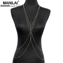 MANILAI Mode PC Or Couleur Chaîne Corps Bijoux Femmes Simple Collier Double Strass Inlay Corps Chaînes Sexy Accessoires(China (Mainland))