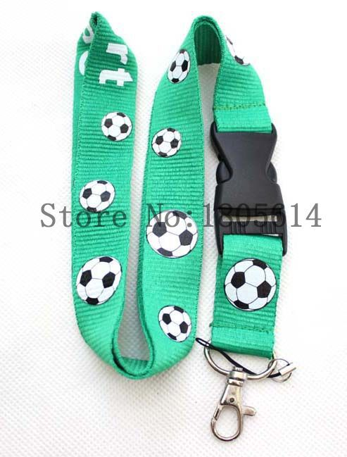 Colourful Football pattern Printed Lanyard With Buckle,ID Holder Key chains CellPhone Charms Detachable Neck Strap Lanyards #R33(China (Mainland))
