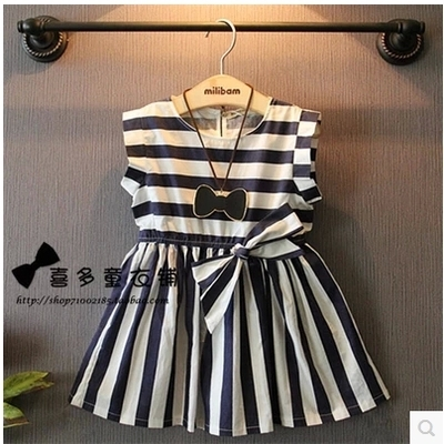 elegant baby fashion girls clothing children striped dress summer 2015 short sleeve sweet kids dresses bow high quality(China (Mainland))