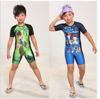 New Summer 2015 Boys Swimwear Creative Children Conjoined Superman Swimming Trunks Suit The Boy One-piece Swim Cap Suits<br><br>Aliexpress